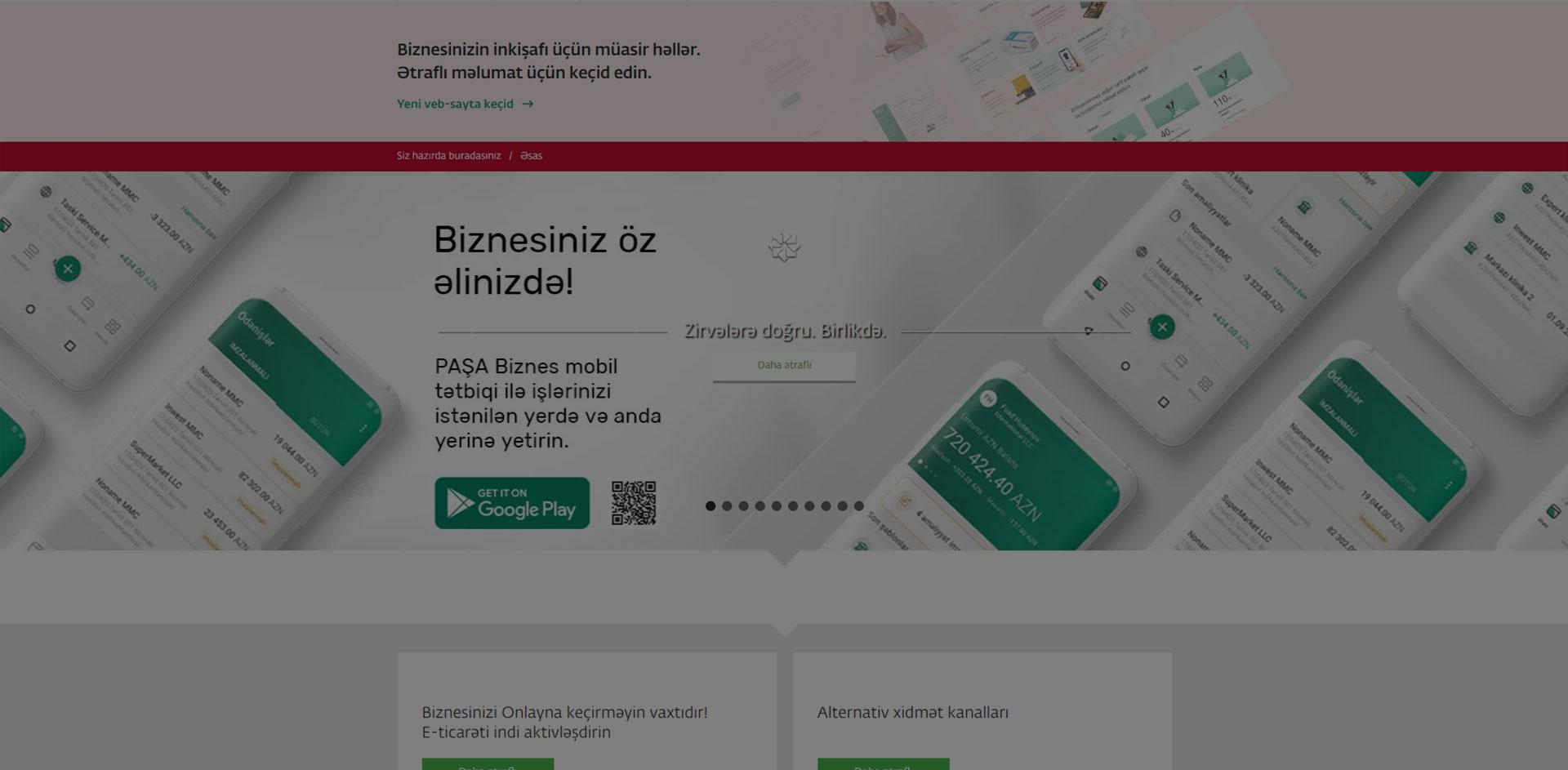 """PASHABank.az """"PAŞA Bank"""" bankının vebsaytı"""