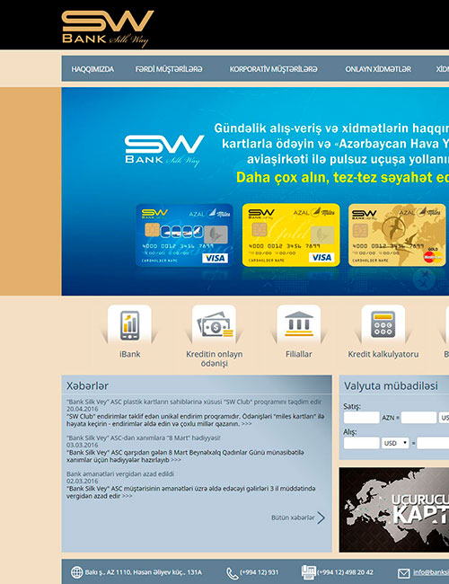 BankSilkWay | Вебсайт банка «Bank Silk Way»